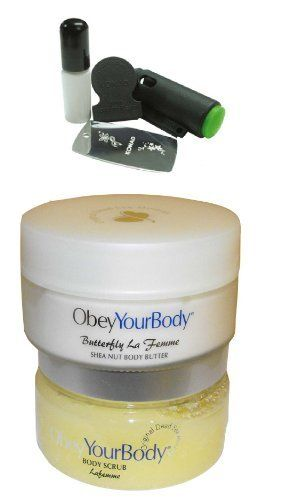 2x obey your body dead sea salt scrub+body butter Shea nut both la femme scents+ promo stamping nail art kit by obey your body. $76.00. obey your body salt+butter+promo kit from konad. salt : Exfoliates and invigorates your skin, revitalizing it with Dead Sea salts and an abundance of concentrated minerals. Stimulates blood circulation and promotes removal of toxins. Refreshing ocean scent. Leaves your skin silky smooth, with a luminous glow. Suitable for all skin type...