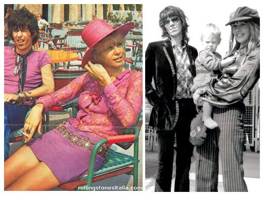 """Keith Richard from the Roling Stones with Anita Pallenberg dressed in Ossie Clark  in front of the cult shop """"Granny Takes a trip"""""""