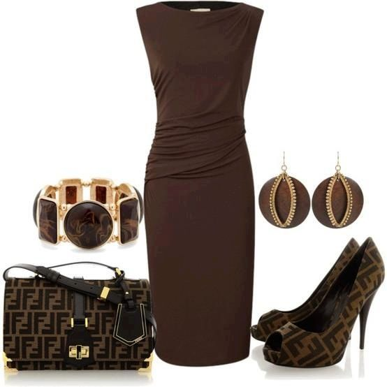 See more Dark brown long shift dress, hand bag and high heel shoes for ladies