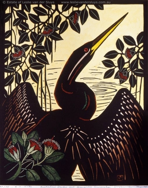 Australian Darter and Mangrove by Australian printmaker Leslie Vander Sluys