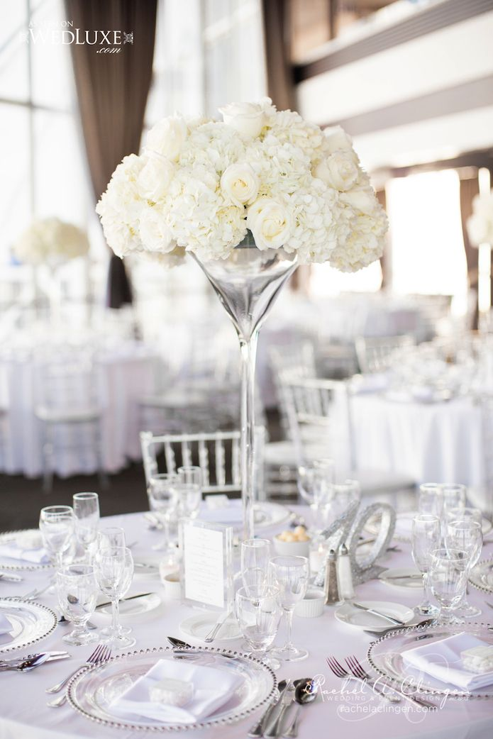 White Wedding Table Centerpiece Idea - White Roses in tall Martini Vases