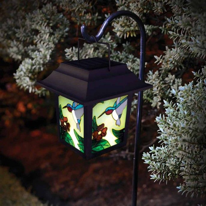 STAINED GLASS BIRD SOLAR LANTERN - Solar Lights - Garden & Outdoor | Poundstretcher