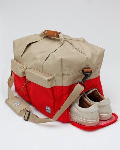 The Walton Duffle Bag in Red & Khaki