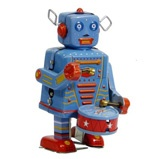 Tin Toy - Robot with Drum, wind up robot