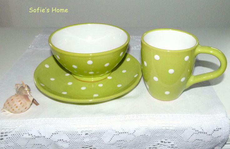 Schüsseln & Schalen - 3tlg Keramik Geschirr SET  grüne Punkte handmade - ein Designerstück von SofiesHome bei DaWanda