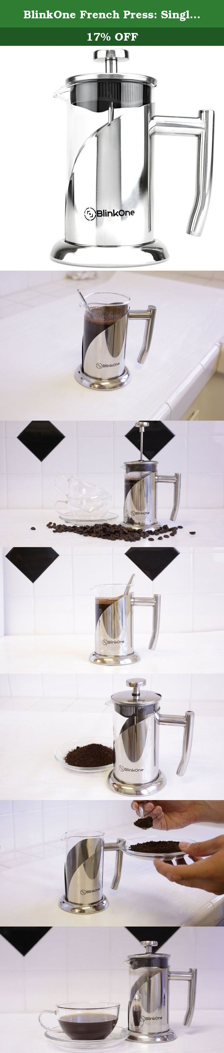 BlinkOne French Press: Single, Double and Up-to Three Serve Cup Espresso Coffee Maker (12 Oz). BlinkOne French Press: Embrace the Joy of Coffee Making Struggling to find a single to triple serving coffee maker, then BlinkOne french press is specially catered for you. BO399FP is handcrafted in industrial-strength borosilicate glass material and thereafter perfect by machine cutting technology. Our coffee maker is designed to brew and keep your coffee fresh till the very last minutes....