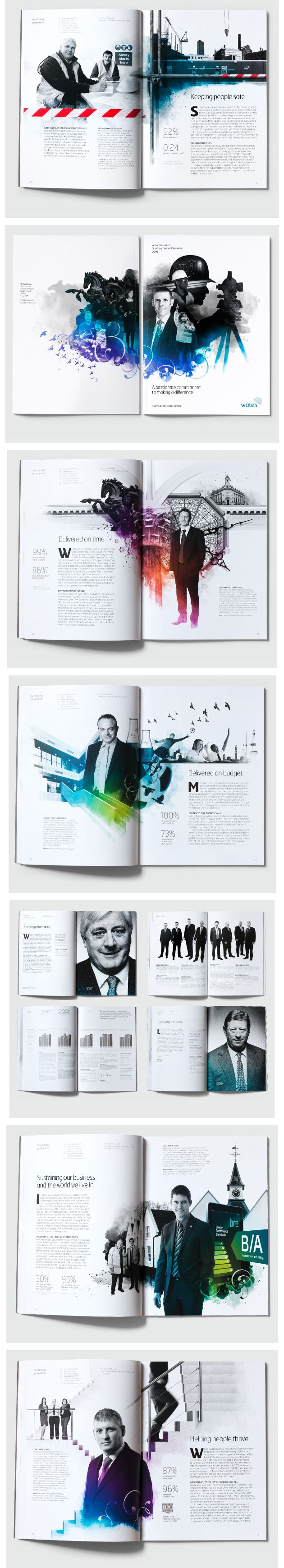 wates group - 2010 annual report | Love this use of white space, grayscale images and splashes of color.