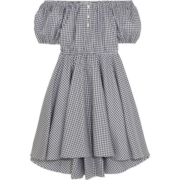 Caroline Constas Bardot off-the-shoulder gingham cotton mini dress (€430) ❤ liked on Polyvore featuring dresses, black, off shoulder mini dress, cotton dress, gingham print dress, short dresses and short cotton dress