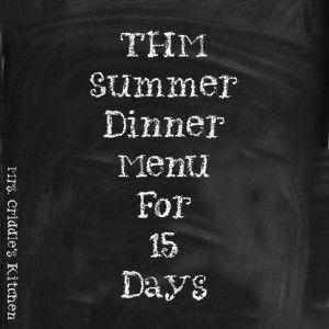 THM Summer Menu for 15 Days