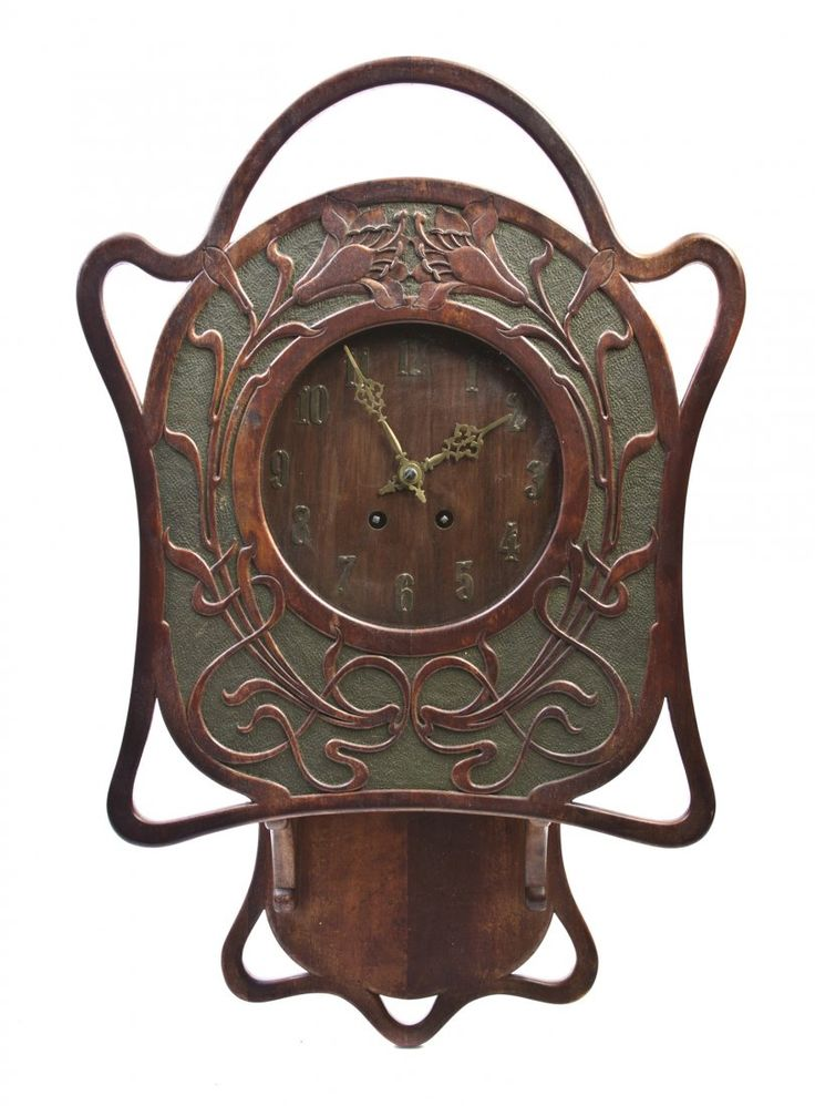 American Art Nouveau Oak Clock.