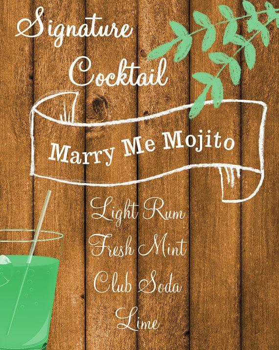 Signature Drink Sign// Wedding Signature Drink// Rustic Wedding Decor by PleasebeSeatedDesign on Etsy, $12.00