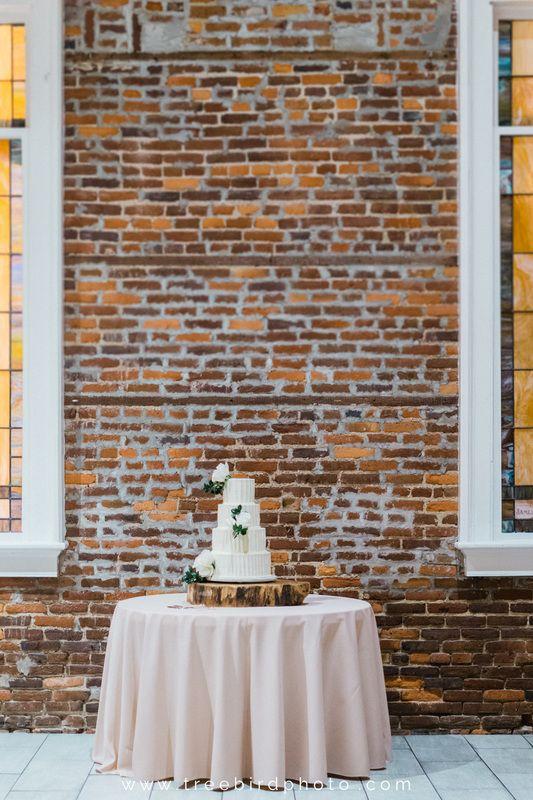 Blush & White l Brick l Cake l Greenery l Wood Cake Stand l Flowers on Cake l Saint Thomas Preservation Hall l Wilmington, NC Weddings l Knot Too Shabby Events