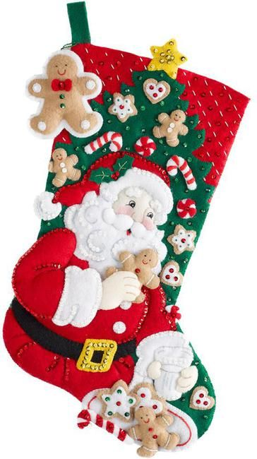 Bucilla Snack Time Christmas Stocking - Felt Applique Kit. Santa is taking some time off from sneaking gifts under the Christmas tree with the Snack Time Stocki