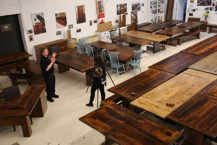"""Interviewing CTV Kitchener today for  """"Made Right Here"""" segment this Saturday  #hdthreshing #reclaimedwoodfurniture"""