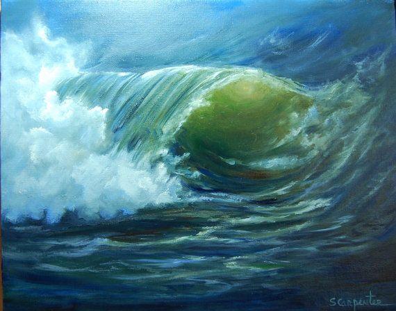 Night Ocean Wave Eye of Wave Study Original by JellyBeanJump, $135.00