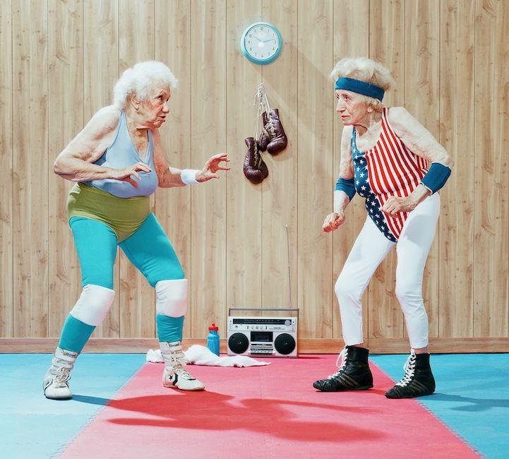 Dean Bradshaw's humorous photos depict elderly athletes as spirited and spunky
