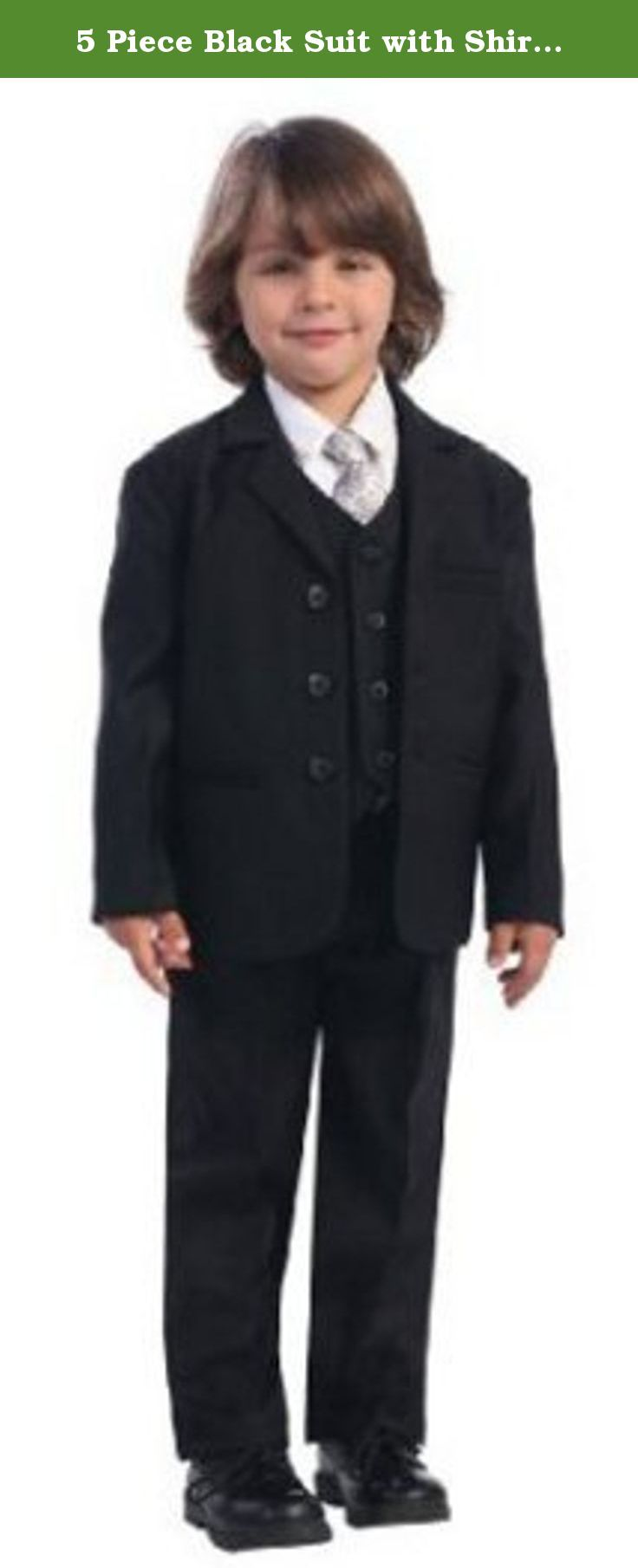 5 Piece Black Suit with Shirt, Vest, and Tie - Size 5. The 5pc set includes a jacket with matching vest and pants, a white shirt and coordinating tie. Perfect for any special occasion. Infant, Toddler, Boy's Sizes (M-14). (Suit: 100% Polyester / Shirt: 65% Polyester-35% Cotton). Made in the USA. Infant Sizes: M (6-9 Months), L (9-12 Months), XL (12-18 Months), Toddler Sizes: 2T, 3T, 4T, Boys Sizes: 5, 6, 7, 8, 10, 12, 14. CHEST IS MEASURED ONE INCH BELOW THE UNDERARM. Please allow 3-5…