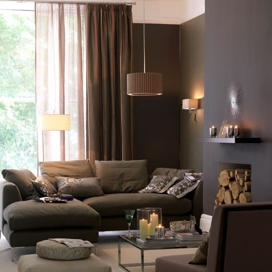 Rich brown living room