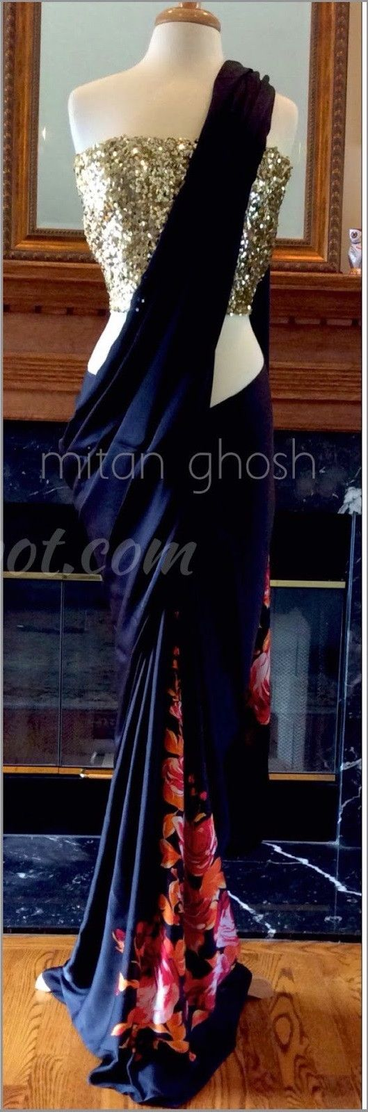 Black and Floral Printed Designer Bollywood saree online ,Veeshack.com | Fashion for the World