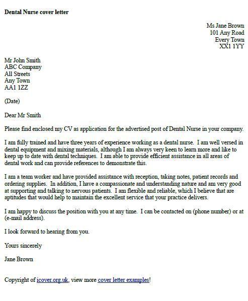 Dental Nurse Cover Letter Example