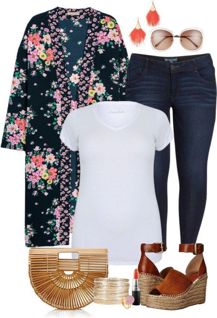 4e93dbd9eed Plus Size Floral Kimono Outfit - Plus Size Spring Summer Outfit Idea - Plus  Size Fashion for Women - alexawebb.com  alexawebb