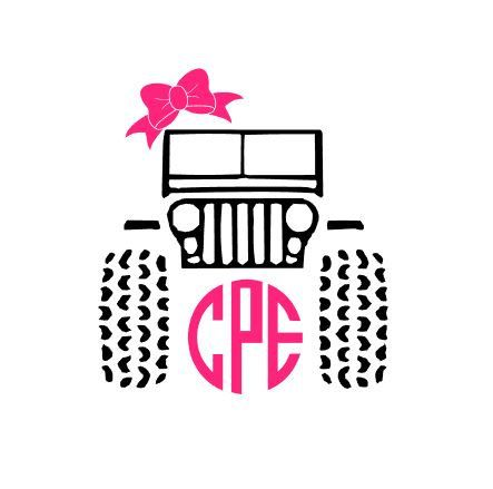 Jeep Monogram Decal for Cars, Yet'is, Laptops and Much More! Jeep Life - Jeep Girl - Jeep Life - Bow Monogram - Jeep Crew