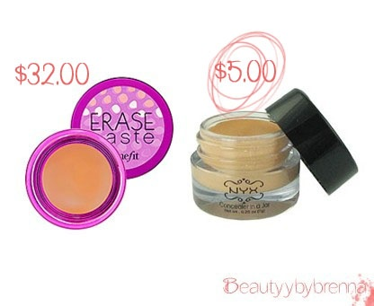 Benefit Erase Paste vs NYX Concealer in a Jar: These two are practically identical in consistancy and in effectiveness. I find the erase paste shades are more on the salmon color side then the NYX one which is what I live to use. But for those of you not willing to spend the moeny, NYX is a good dupe. Erase paste is $32.00 while the NYX one is $5.00!!