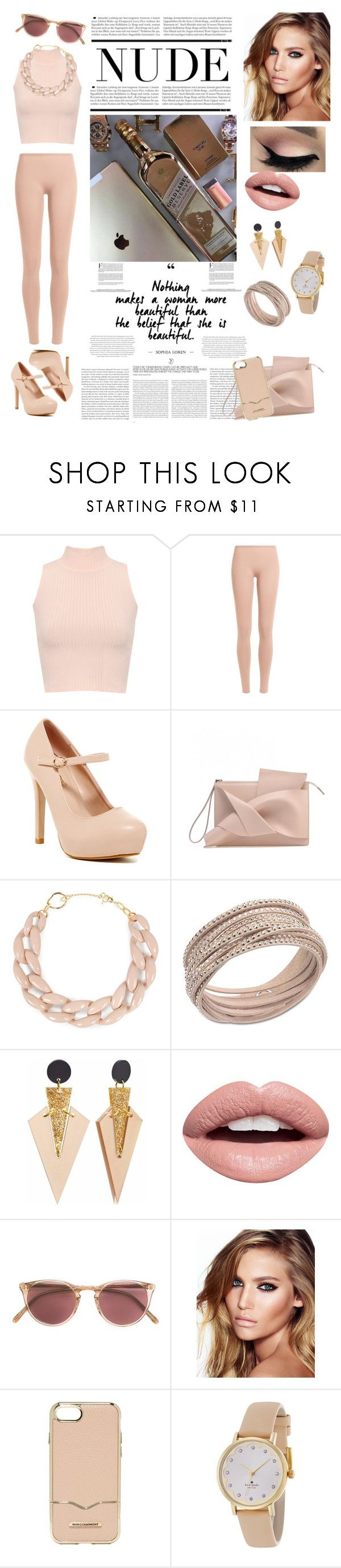 """""""Nude Outfits - Hanging Out"""" by allyssister ❤ liked on Polyvore featuring WearAll, Valentino, DIANA BROUSSARD, Swarovski, Toolally, Nevermind, Oliver Peoples, Charlotte Tilbury, Rebecca Minkoff and Kate Spade"""