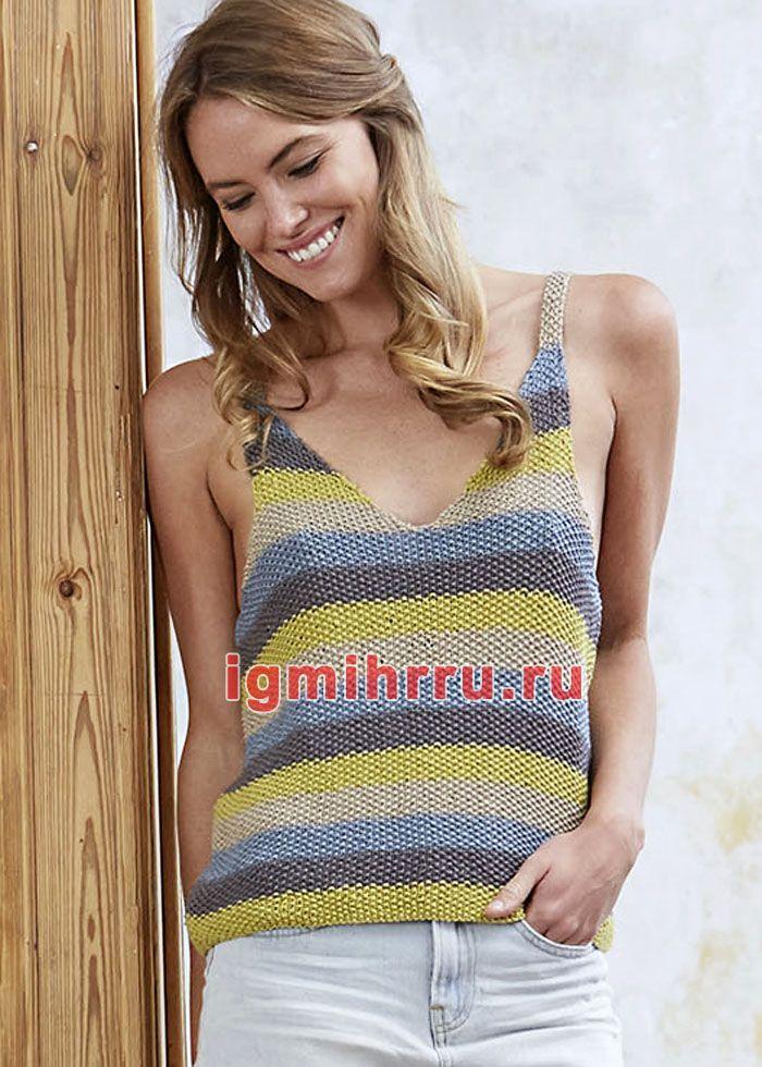 разноцветный полосатый топ на бретелях вязание спицами Knitting