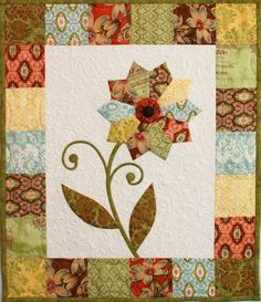 "FREE pattern: ""Curio Flower Mini Quilt"" from Erin Russek/One Piece at a Time"