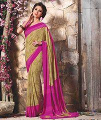 Rani Pink & Light Mehendi Green Color Crepe Casual Function Sarees : Karnika Collection  YF-40742
