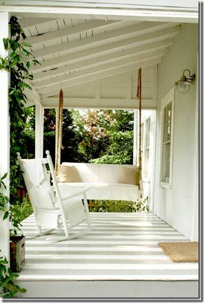 A painted striped porch.
