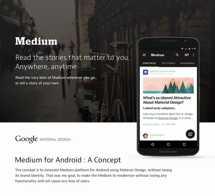 Medium Material Design for Android Mobile App on Behance