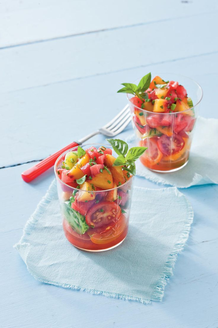 Watermelon-Peach Salsa and Tomatoes | If you can't pass up the fresh watermelon at the grocery store, you might need some new recipe ideas. Munching on a sweet slice of watermelon under a shady tree may be the universally preferred method to enjoy this seasonal produce, but these quick and easy salads, thirst-quenching drinks, and cooling treats prove there are many more ways to appreciate the South's favorite melon.