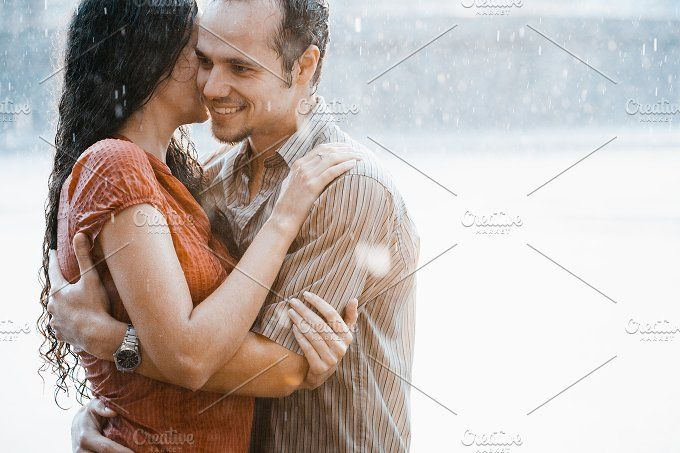 Couple kissing under summer rain by MaxDesign on @creativemarket