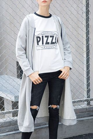 $88.99 Light Grey Hooded Zipper Jacket