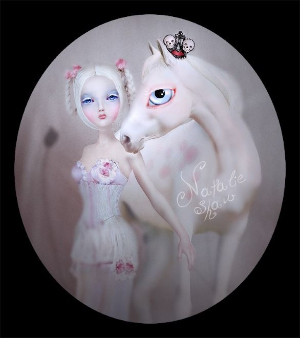 blonde, white skin, white horse, big blue eyes, pink, skull crown, Natalie Shau