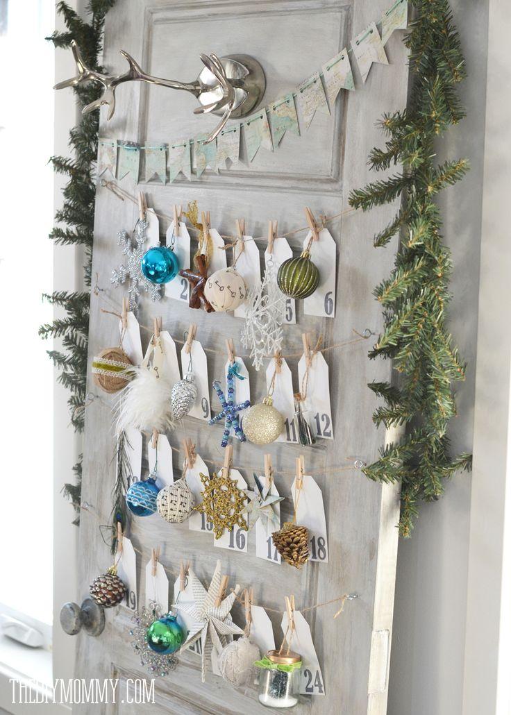 A DIY Christmas ornament advent calendar made from an old door