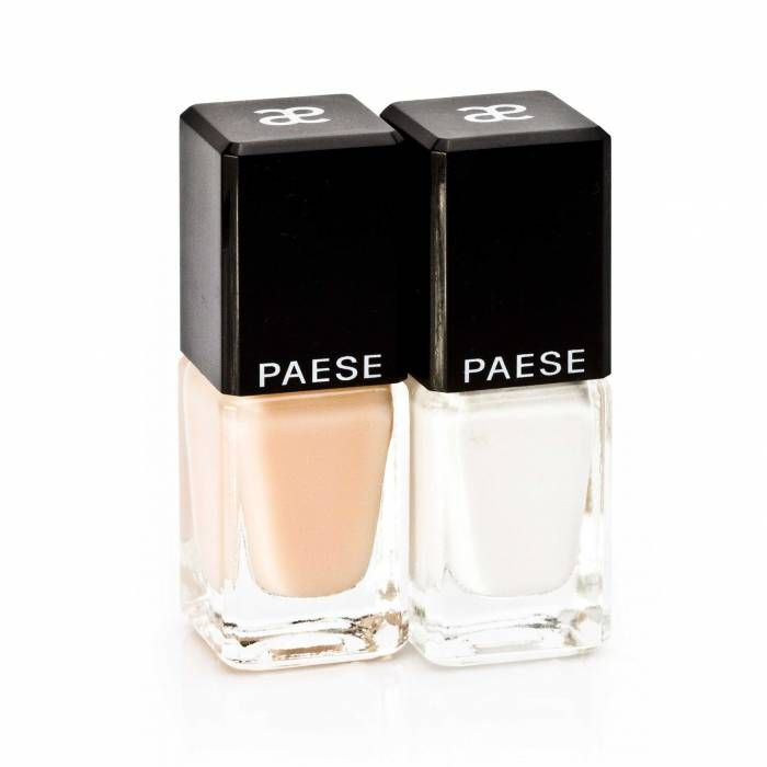 PAESE COSMETICS: Professional kit for FRENCH MANICURE. Provides beautiful nails, Straight from the salon effect. Three steps to the perfect manicure.1. Clean and degrease nails with nail polish remover. 2. Apply stickers on clean, dry nails, leaving the strip of uncovered nail tips. Apply white nail polish and wait until it dries. 3. Gently remove stickers, paint nails twice with the sheer polish. Kit includes: white polish for nail tips, sheer nail polish, stickers for immaculate manicure.