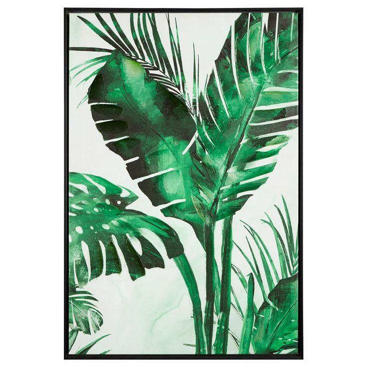 Tropical Leaf Gel Embellished Framed Art