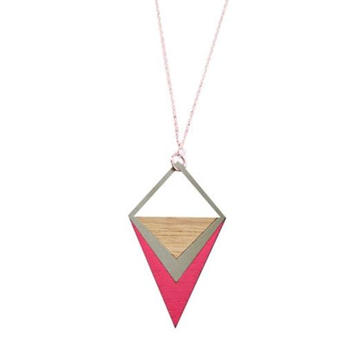 Jana & Bodie geo stainless steel tri pendant in pink - hardtofind.