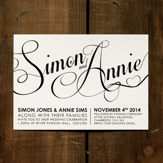 Modern Script Wedding Invitation Suite & Save the Date - DIY Printable Option