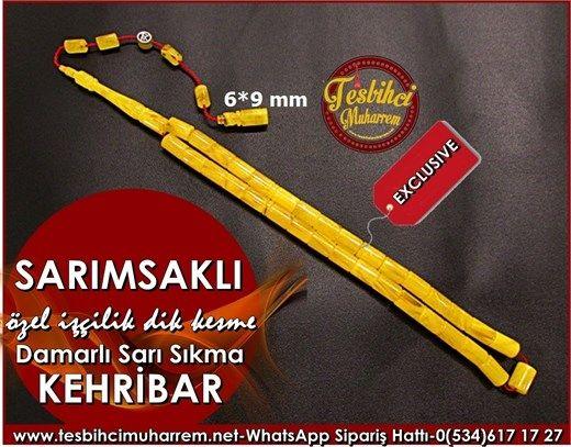Özel İşçilik Dik Kesme Sıkma Kehribar Tesbih 6*9 mm Sarımsaklı Ürün Kodu: TM7704
