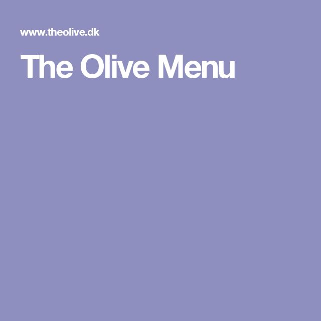 The Olive Menu