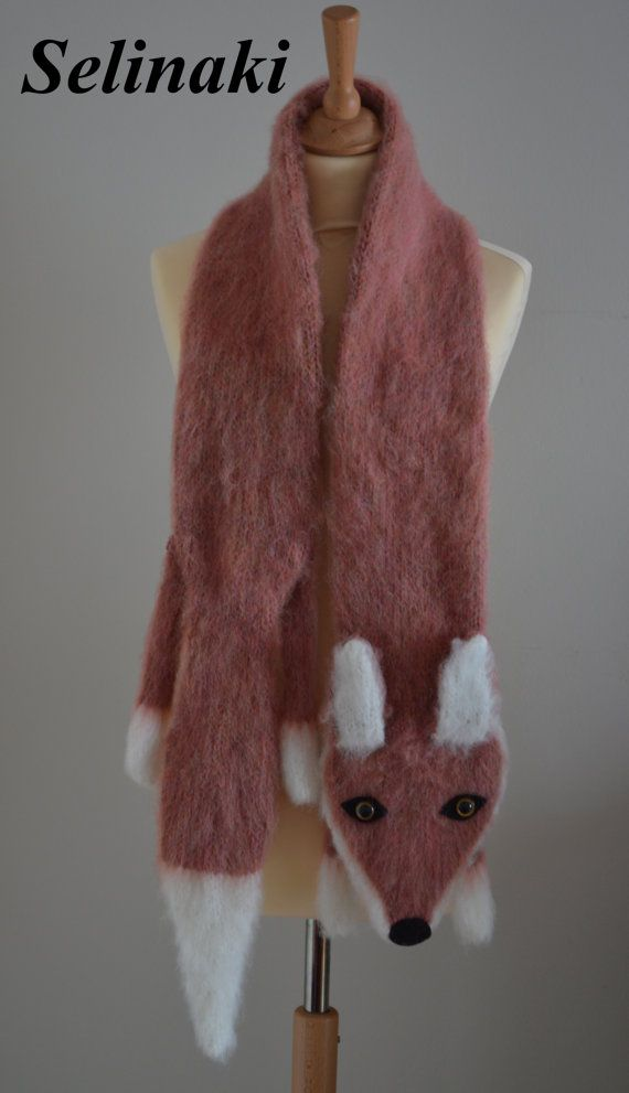 Hand knit Fox Scarf  Handmade by me with 40% Mohair, 20% Wool, 30% Acrylic, 10% Polyamide yarns.  Approximately 175 cm. (69 inches) long.  Ready to ship.  Thanks for looking and please contact me for any questions.   (Colors may appear differently in real life due to camera and monitor settings)