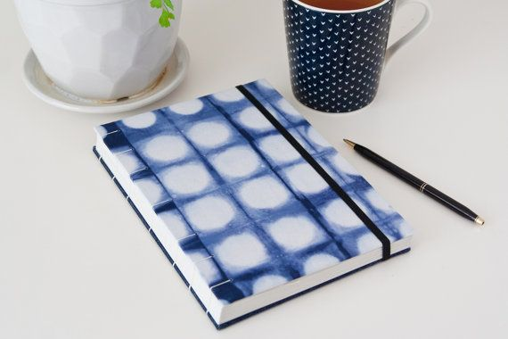Unlined Blue Writing Journal. Shibori Journal Diary by Mettaville