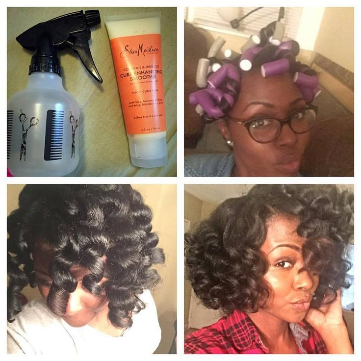 Flexi rods, natural hair. Started on old, dry, stretched hair spritzed each section with one spray of water Flexi rodded hair using twist'n'coil method and SheaMoisture curl enhancing smoothie...