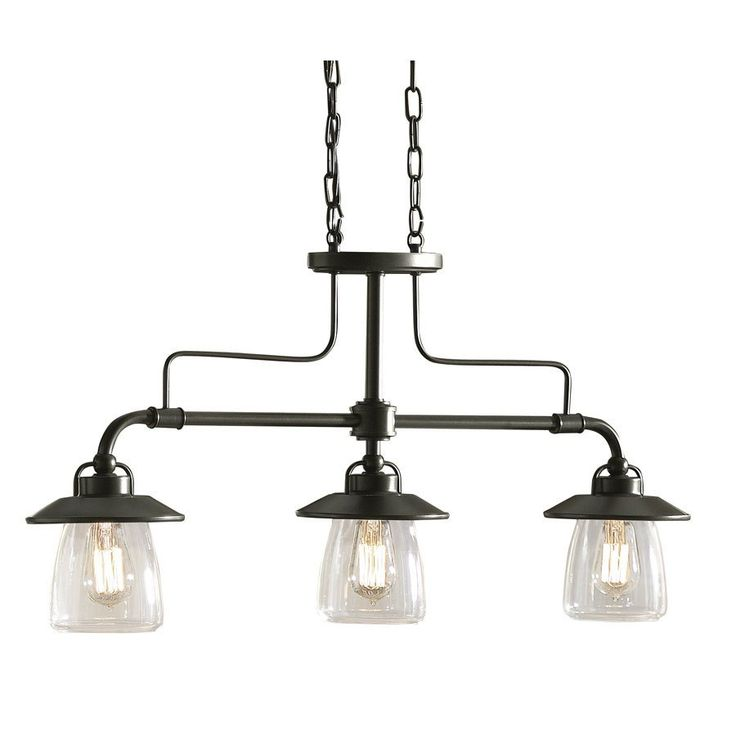 allen + roth 3-Light Mission Bronze Edison Style Island Light with Clear Shade - Lowe's Canada