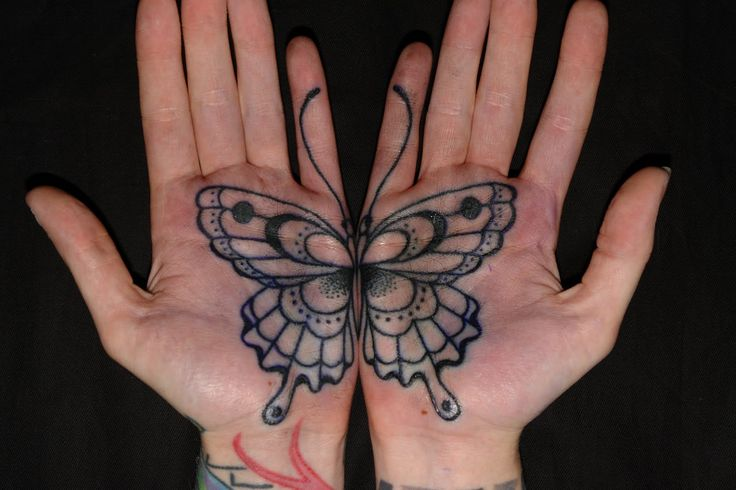 palm tattoo - butterfly