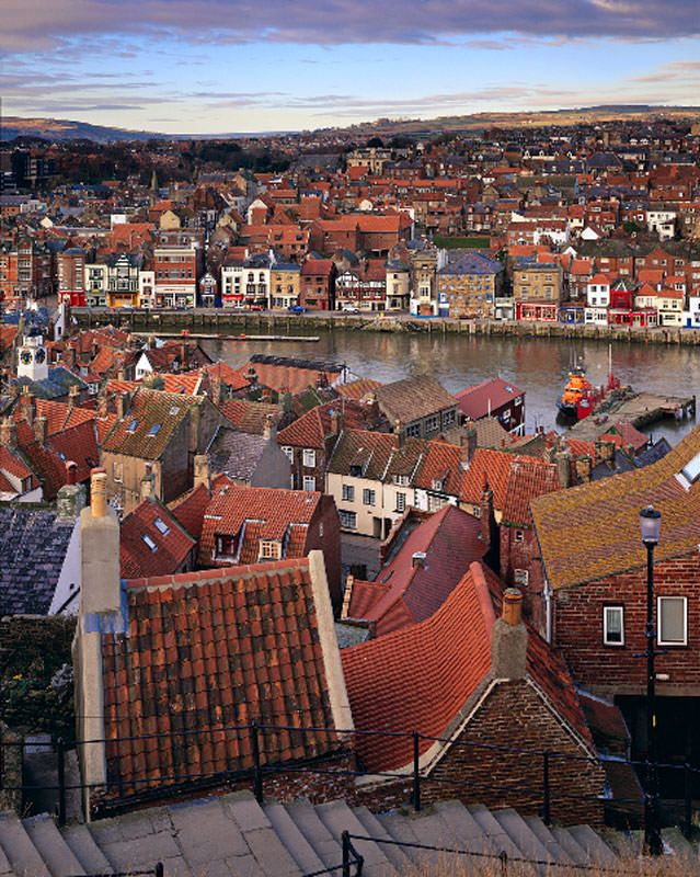 """""""Rooftops""""..View looking across the 199 Abbey steps, towards Whitby town, North Yorkshire..Photo credit: Joe Cornish Gallery"""